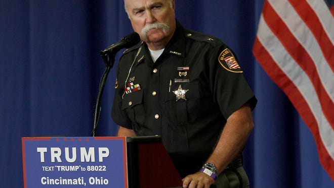 Butler County Sheriff Richard K Jones speaks before Donald Trump takes the stage during a campaign rally for the presumptive republican party presidential nominee at the Sharonville Convention Center in Sharonville, Ohio, on Wednesday, July 6, 2016. (Meg Vogel/Cincinnati Enquirer)