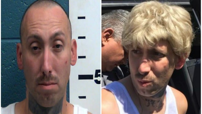 Arthur M. Orozco, shown at right with blonde wig, was arrested Thursday after allegedly threatening his estranged wife