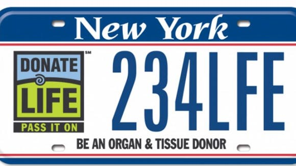 New York has raised $1 million for the Donate Life Pass It On Fund through a distinctive license plate (pictured) and a checkoff on driver license applications. But the money has gone unused.