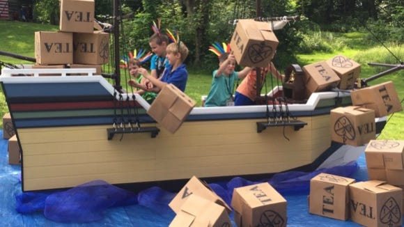 Among activities at Liberty Camp for Kids is reenacting the Boston Tea Party.