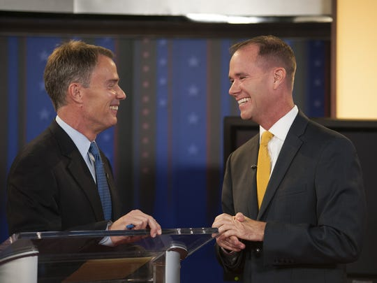 Democrat Joe Hogsett (left) and Republican Chuck Brewer agreed on many issues during their mayoral debate Oct. 16, 2015, at the WISH-8 studios in Indianapolis.