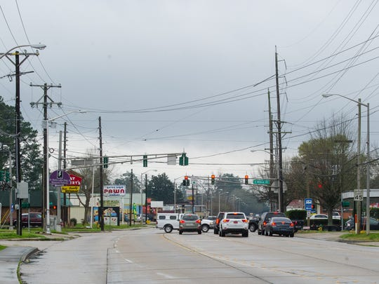Traffic congestion is shown at the intersection of Moss street and Willow in Lafayette. A petition is looking to halt a restriping project of Moss Street.