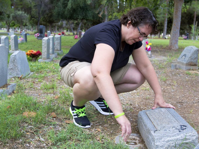 Nicole Hayes visits the gravesite of her infant daughter,