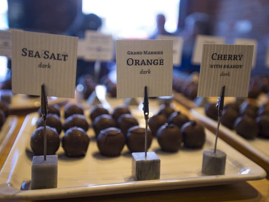 Chocolate truffles await customers at Nuance's retail