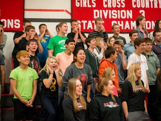 Sevastopol middle and high school students sounded the Pioneer Battle Cry after hearing the news of school's Blue Ribbon designation.