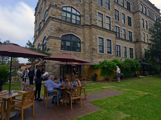 Customers enjoy brunch Sunday at The Vineyard in Old Sacred Heart Hospital in East Hill.