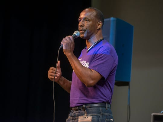 Leroy Williams, Community Center Coordinator, speaks Saturday, August 5, 2017 during the Celebrating Brownsville Arts & Cultural Festival.
