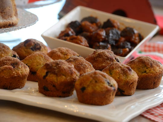 """From the Junior League of Pensacola Florida's cookbook """"Some Like it South!"""" shown are blueberry orange muffins and glazed sausage bites."""