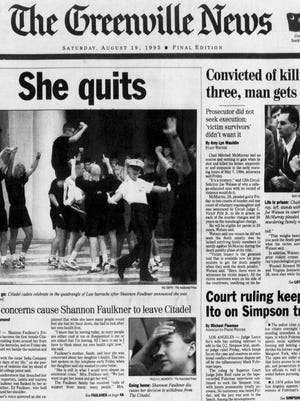 The front page of The Greenville News on Aug. 19, 1995.