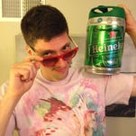 Andrew Eide with his Heineken mini keg.