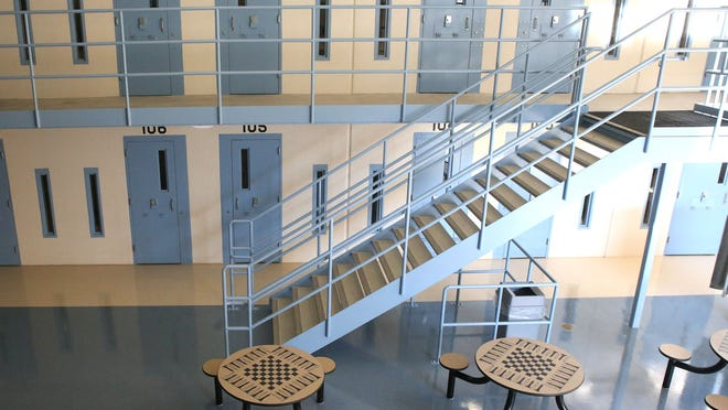 A look down one of the blocks at the new Iowa State Penitentiary building in Fort Madison, Iowa, on Friday, Jan. 23, 2015.