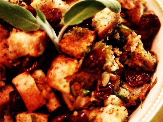 Classic Bread Stuffing with Dried Cherries and Apples