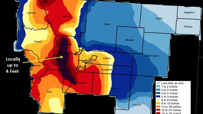 National Weather Service snow totals map.