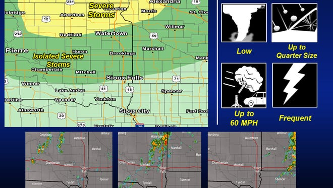 Portions of South Dakota may see isolated showers and thunderstorms Wednesday into Thursday.