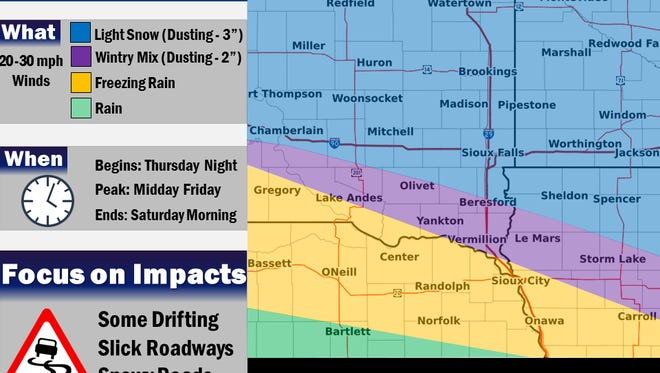 Sioux Falls may get up to three inches of snow Friday.