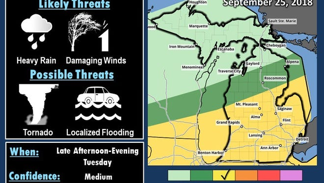 A map from the National Weather Service shows a likelihood of severe storms coming through Livingston County on Tuesday.
