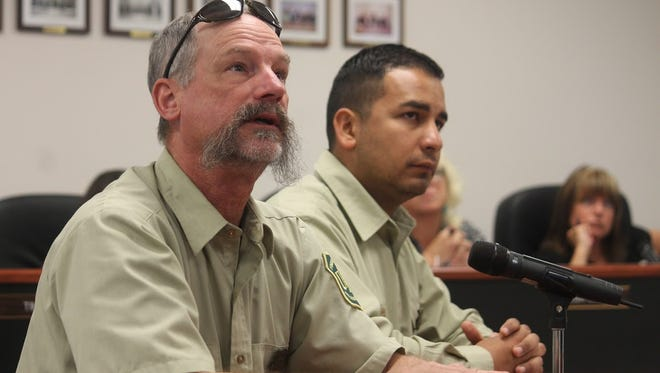 Deputy District Rangers Ron Riise and Andres Bolaños provided an updated on the Monument Fire that ignited Friday, June 2 at the latest Otero County Commission meeting Thursday, June 8.