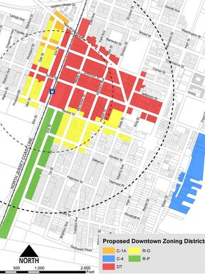 Perth Amboy's proposed rezoning downtown and waterfront rezoning map.
