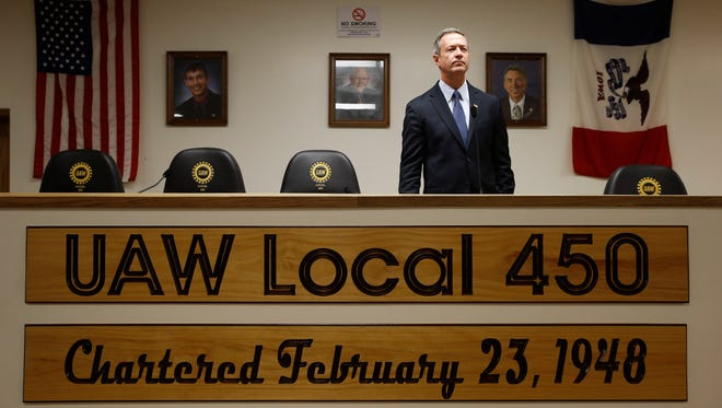 Martin O'Malley addresses members of the Ankeny Area Democrats at a UAW Hall in Des Moines on Jan. 14, 2016.