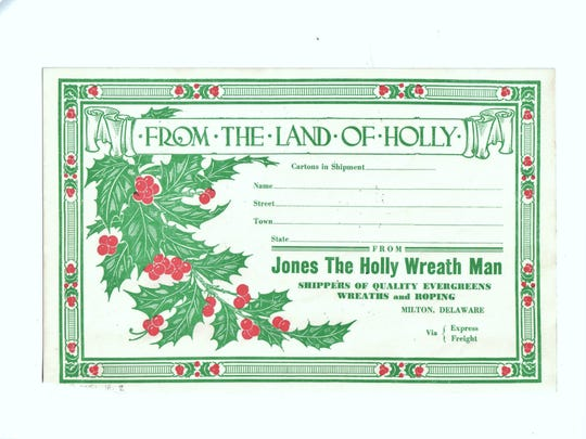 "Pictured here is an advertising envelope the ""Jones, the Holly Wreath Man,"" company used to use. Image courtesy of Milton Historical Society"