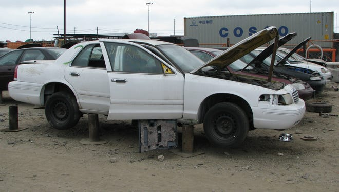Fewer cars are meeting their fates in junk yards like this one in the Wilmington secton of Los Angeles