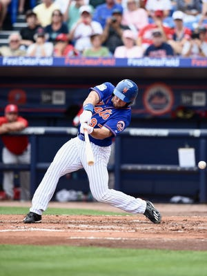 Tim Tebow strikes out in his debut March 8, 2017 at First Data Field in Port St. Lucie.