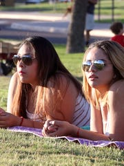 Rosalia Chavez, left, and friend Laura Herrera enjoy