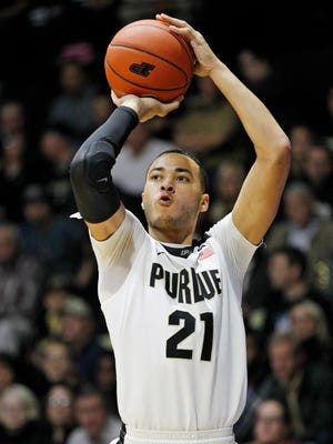 Kendall Stephens drains a three-point shot from deep in the corner against Howard Wednesday, December 9, 2015, at Mackey Arena. Purdue thumped Howard 93-55.