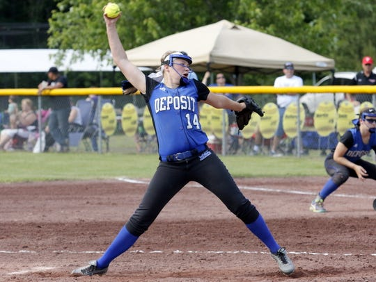 Deposit's Makenzie Stiles delivers a pitch during her
