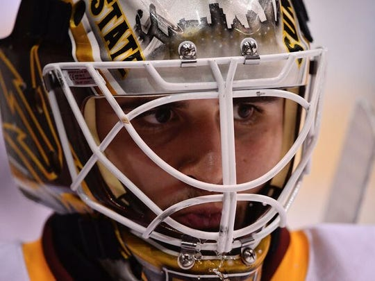 ASU sophomore hockey goalie Joey Daccord was a 2015