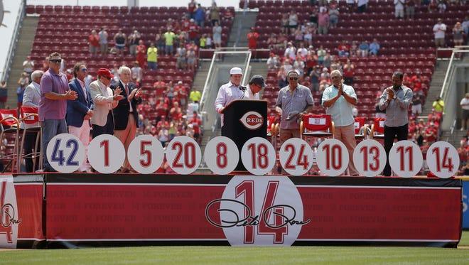 Former Cincinnati Red Pete Rose addresses the crowd at Great American Ball Park as his number 14 is retired Sunday, June 26, 2016.