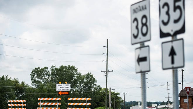 Roadwork near the intersection of Indiana 38 and U.S. 35 continued on Monday, July 17, 2017.