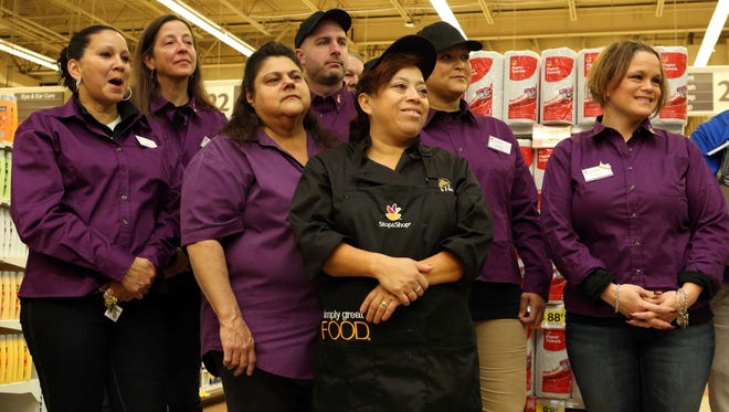 Employees gather for the Stop & Shop grand opening in Mount Kisco, Nov. 19, 2015. The store was formerly an A&P supermarket.