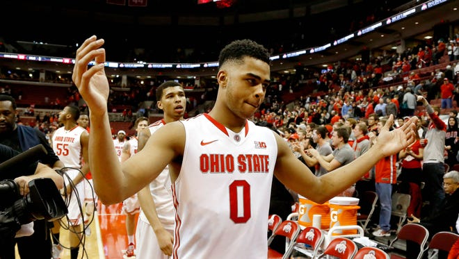 Ohio State Buckeyes guard D'Angelo Russell (0) celebrates following the win over the Maryland Terrapins at Value City Arena. Ohio State won the Big Ten game 80-56.