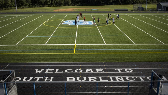 South Burlington High School's newly resurfaced artificial turf field and track.