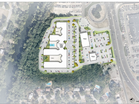 An overhead view of the proposed apartment building and detached restaurant and retail space on Route 23 that was approved by the Wayne zoning board in 2017.