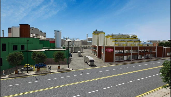 Rendering of the proposed Genesee Brewery expansion on St. Paul Street in Rochester.