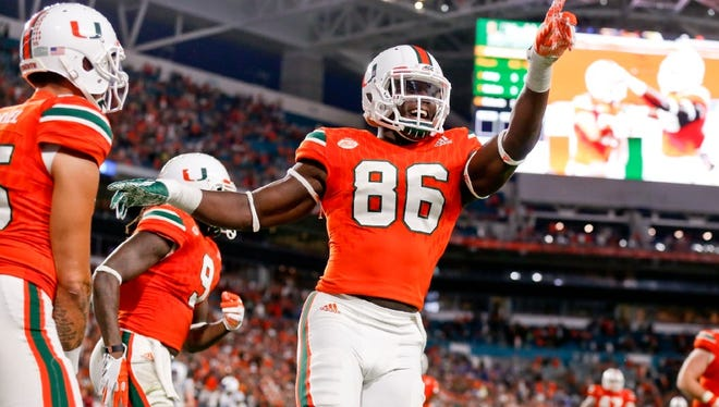 Miami TE David Njoku is the older brother of Wayne Hills WR Evidence Njoku. David is a redshirt sophomore and could be a future NFL draft pick.