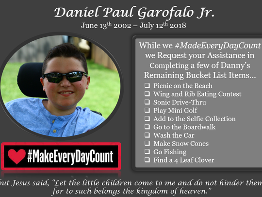 A rising junior at Middlesex High School, Danny Garofalo Jr., 16, died Thursday after a lifelong battle with Duchenne muscular dystrophy. Danny lived by the mantra #MakeEveryDayCount, inspiring others to do the same.