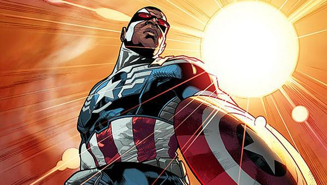 Sam Wilson trades his Falcon wings for a star-spangled shield as the new Captain America.