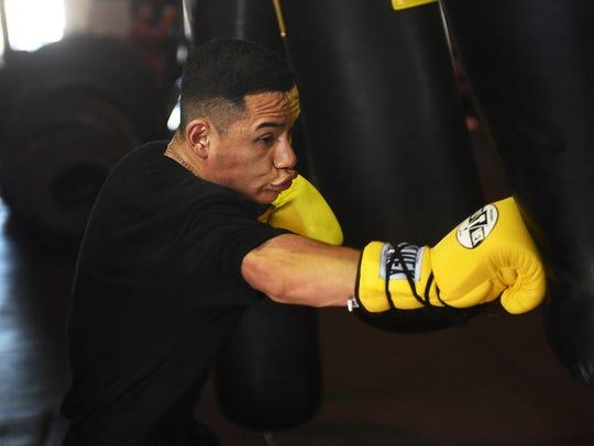 Featherweight Ricardo Lucio-Galvan Jr. trains at the