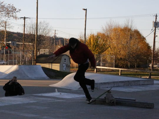 Dylan Whittle, 19, of Ithaca attempts to ollie an obstacle