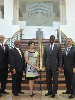 From left: Mayor Pro Tem Gil Ziffer, City Commissioners Curtis Richardson and Nancy Miller, Mayor Andrew Gillum and City Commissioner Scott Maddox