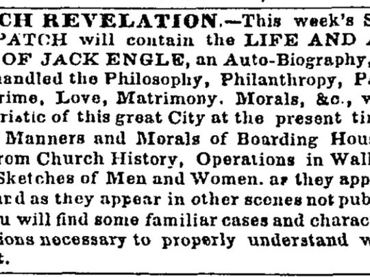 "This newspaper notice for ""Jack Engle,"" published in the New York Daily Times, led scholar Zachary Turpin to rediscover a forgotten, 165-year-old short novel written by poet Walt Whitman."