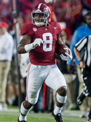 Alabama running back Josh Jacobs (8) breaks away for a long gain against Ole Miss in second half action at Bryant-Denny Stadium in Tuscaloosa, Ala. on Saturday September 30, 2017. (Mickey Welsh / Montgomery Advertiser)