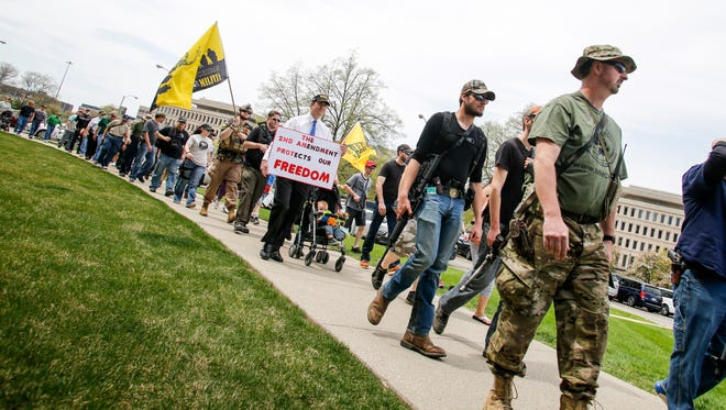 About 400 people gathered Wednesday, April 26, 2017, for the Michigan Second Amendment March at the State Capitol.  Pro-gun and legal gun ownership activists met with legislators to discuss gun right issues,  to show the political strength of Michigan's legal gun owners.