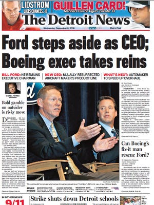 The front page of The Detroit News on Sept. 6, 2006.