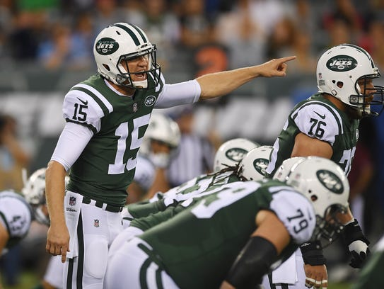 Jets QB Josh McCown in the first quarter of the preseason