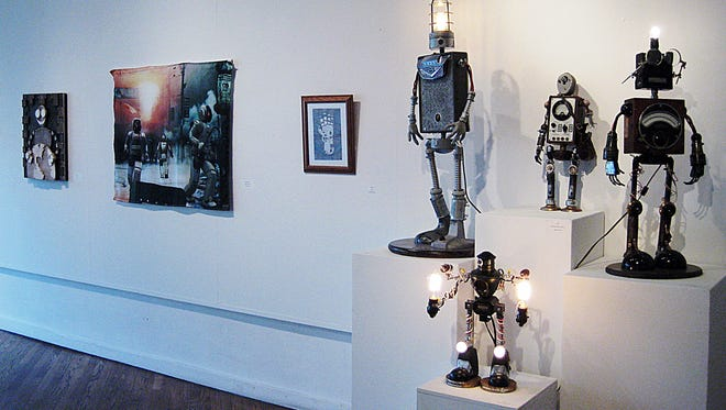 Tylar Dean, Christopher Wilke, Noah Laroia-Nguyen and Randall Griggs all created different interpretations of a robot invasion for the exhibit.