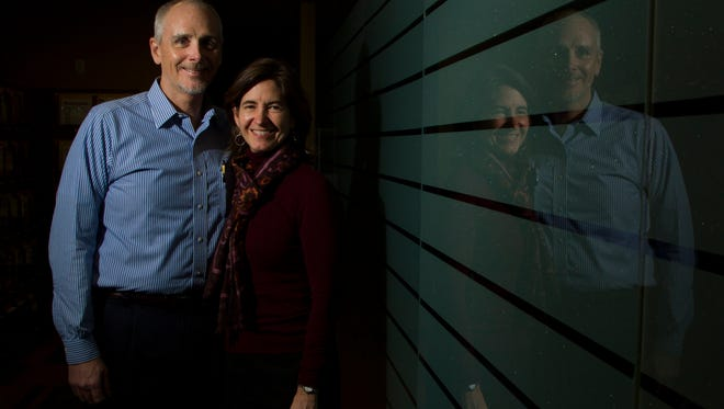 JCPS chair member David Jones Jr. and wife Mary Gwen Wheeler pose for a portrait in the office at Chrysalis Ventures. .